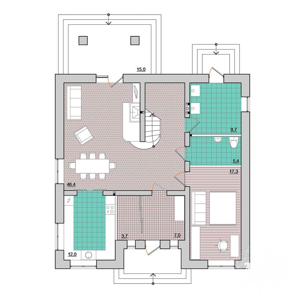 Дизайн проект фасада дома 200 м2 5